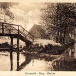 Bleiche Burg-Fluß-Holzbrücke-Bauernhaus-