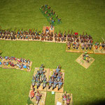 Die Normannen sind eingeschlagen und haben gleich ein Element verloren, dafür sind die deutschen abgesessenen Ritter gedropped.