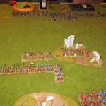 Schon wieder den Flankenmarsch vergessen, die Reiter bewachen das Lager. Die Infantrie zieht gegen die Elis.