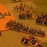 Ritter bewachen die Flanke der Katalanen.