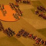 Ritter und Catalanen auf dem Weg zum Lager.