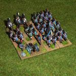 große Einheit in tiefer takt. Formation mit Artillerie- und Kavallerie-Attachement