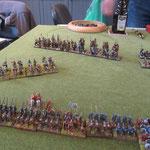 Die leichten Reiter versuchen zwischen den Linien zu entkommen.