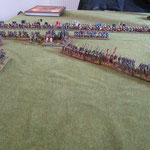 Die Byzantische Infantrie bildet hinter der Angriffslinie einen Flankenschutz.