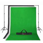 Kit de fondos negro, verde y blanco tamaños 2,80 x 5 mtrs + stand $ 750.000