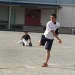 甲子園決勝8回裏の再現。森ー瀬戸上リレー。自分の弟に厳しいスライダーを投げる(笑)
