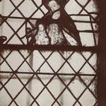 Eglise Saint-Martin à Arnières-sur-Iton, Verrière du XVIe siècle, la vierge et l'enfant, photographie de Marcel Baudot