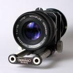 Makroobjektiv Novoflex Noflexar 1:4/105 mm am Balgengerät