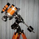 Celestron 5, 1:10/1270 mm auf Sensormontierung und schwerem Holzstativ, Canon IXUS 55