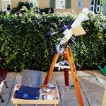 Fotografie der Sonnenfinsternis mit Refraktor 80/900 mm, Canon EOS 300D, Olympus Camedia 1400XL