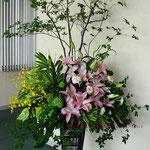 2017年鎌倉彫発表会の装飾 生花アレンジメントその1