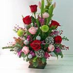 赤いバラのクリスマスアレンジメント