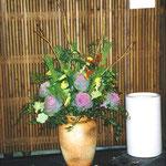 横浜・根岸にある旧柳下邸にてお正月のテーブルセッティングのフラワー装飾 その1