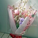 桜、チューリップとスイトピーの花束