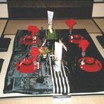 横浜・根岸にある旧柳下邸にてお正月のテーブルセッティングのフラワー装飾 その3