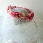 エレイン ピーチカラーのアーティフィシャルフラワーを使ったお花冠
