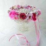 フィオナ 赤、ピンク系のアーティフィシャルフラワーを使ったお花冠