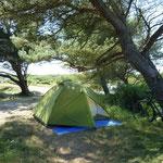 Auf einem Dünen - Campingplatz kurz vor der Fährtfahrt nach England