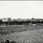 Deze oude foto is omstreeks 1916 genomen vanaf de Benedenweg in noordoostelijke richting. Er werd toen nog heel wat aan tuinbouw gedaan tussen de Bovenweg (op de achtergrond) en de Benedenweg.