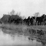 De winter van 1929 was streng en lang. In april was het kanaal Alkmaar-Kolhorn nog bevroren. Paarden op de kade trekken hier een schip voort (niet op de foto te zien), dat als ijsbreker werkt. De paarden zijn van Klaas van der Molen.