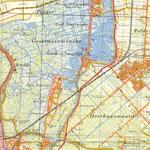 Deel van topografische kaart met Sint Pancras, 1969. Duidelijk zie je de vele sloten en vaarten van voor de ruilverkaveling.
