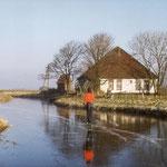 Heerlijk schaatsen aan de noordkant van de Daalmeer. Zo zag het er uit in de 50-er jaren. Het huis is van Van der Sluis.
