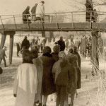 IJspret op de Veert, bij de eerste brug van het Daarmeerpad, omstreeks 1960.