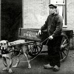 Steenkolenboer Willem Groen, met hondenkar, tegenover de christelijke school. Omstreeks 1930.