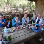 Lunch mit Joe und Phillys aus Irland und Adèl und Gérard aus der Bretagne