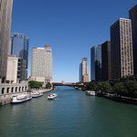 Chicago River towards Lake Michigan