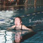 Lisa-Marie Lehmann  vom Förderzentrum der Lebenshilfe Haßberge e. V. gewann das B-Finale über 25 Meter mit Schwimmflossen.