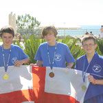 Friends, Max, Kieren and Lewis proudly showing off their medals