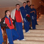 Richie, Kev, Ryan, Lee, Cat, Reece and Daniel waiting for the rest of the team on the hotel steps