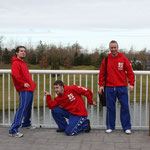 Richie Wooton, Kevin Williams and Ross Clark posing pre-squad photos
