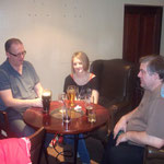 Cat Harris in the bar with Andy Luck and Mick Dempsey