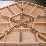 この五角形は天井の一番高いところにつけられるものなので、中心から5方向に「いちなるもの」と書きました。