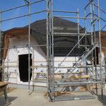 屋根と壁の防水シートが貼り終わりました。