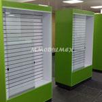 Vitrinas con panel ranurado, vitrinas para papelerías, vitrinas para farmacias, mostradores para farmacias, mostradores para papelerías, muebles para farmacias, muebles para papelerías
