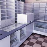 Mostradores para farmacia, vitrinas para farmacia, muebles para farmacia, muebles para negocio, aparadores para farmacia, vitrinas para papelería