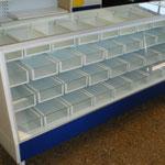 Vitrinas para farmacia, mostradores para farmacia, mostradores para papelería, vitrinas para papelería, vitrinas metálicas