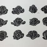 キャベツ畑 リトグラフ 2014