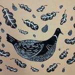 鳥と葉っぱと木の実 リトグラフ 2014
