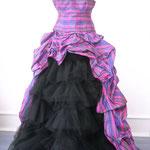 """Hochzeitskleid in """"pink-Karo"""" mit schwarzem Tüllrock, Kossage"""
