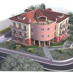 """Vista renderizzata di uno degli edifici condominiali realizzati all'interno della lottizzazione """"Primavera""""."""