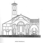 Disegno della sezione della chiesa.