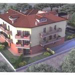 """Vista renderizzata di uno degli edifici comdominiali realizzati all'interno della lottizzazione """"Primavera""""."""