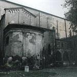 Veduta in primo pisno della Cappella Cortellieri con gli intonaci molto degradati (foto prima del restauro).