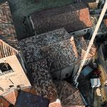 Veduta dall'alto delle coperture della chiesa dopo i lavori di restauro.