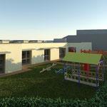 Vista renderizzata del prospetto principale della scuola materna