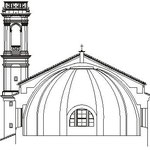 Sezione della cupola e prospetto del campanile settecentesco